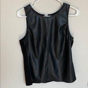 Black Vegan Leather Tank Top with Zipper Detail